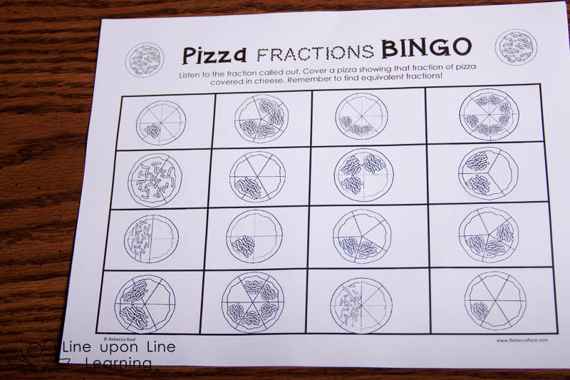 I included 25 unique BINGO boards. Kids can practice finding equivalent fractions.