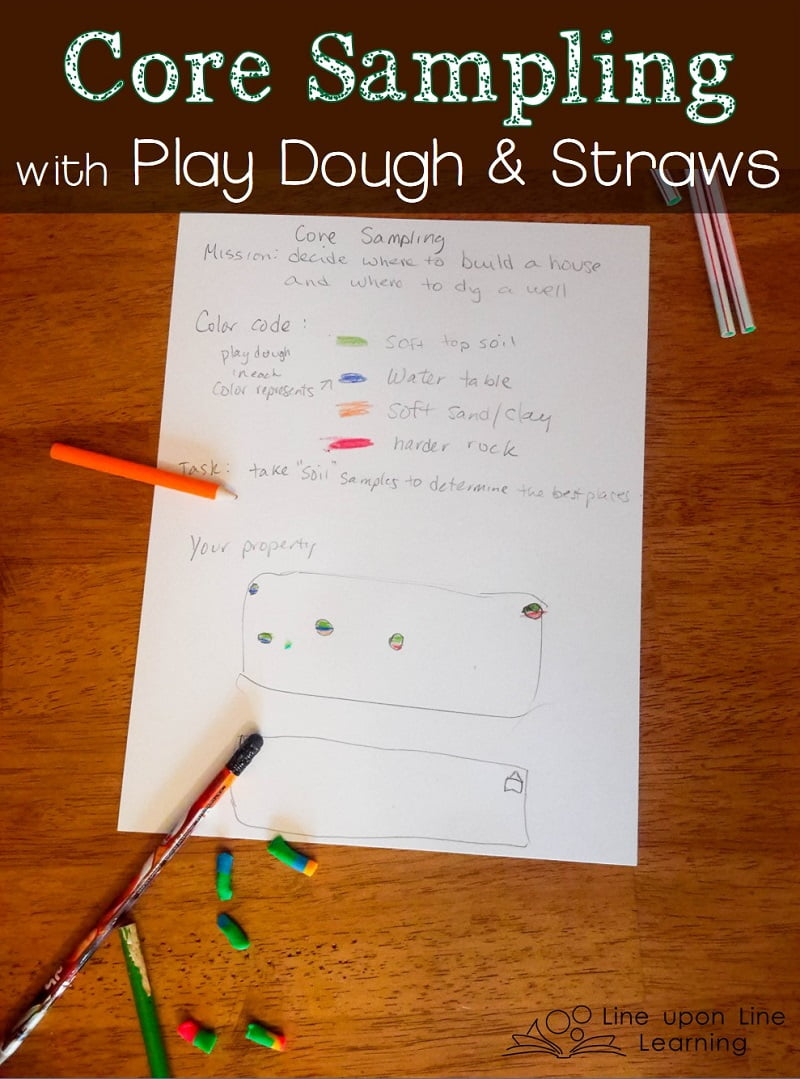 I gave my son a paper to document where he did his core sampling and what colors the play dough was upon observation. Then, he could map where he wanted to build his house and dig his well.