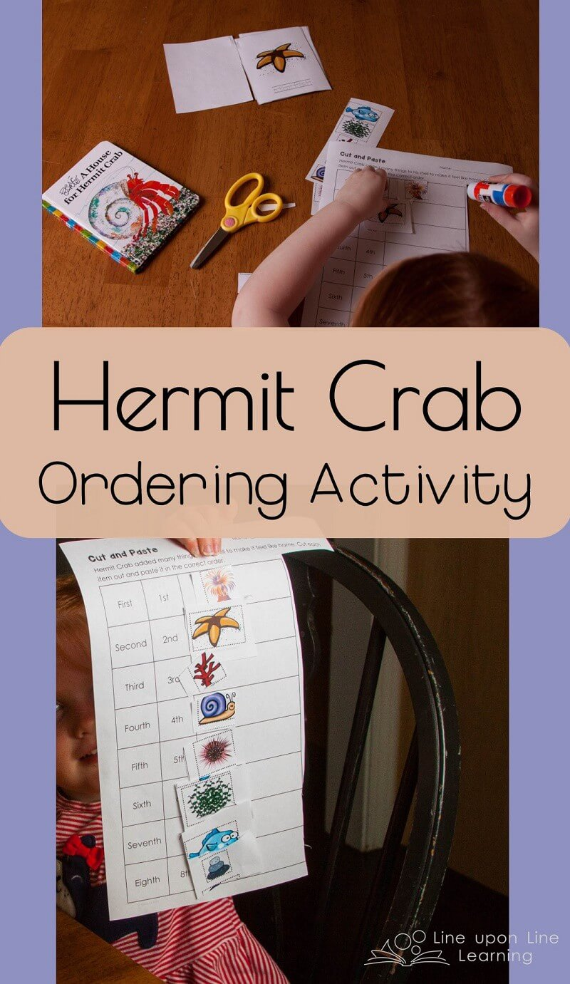 Ta-Da! She's cut out and pasted in order all the animal friends in the order they appear in the book A House for Hermit Crab.