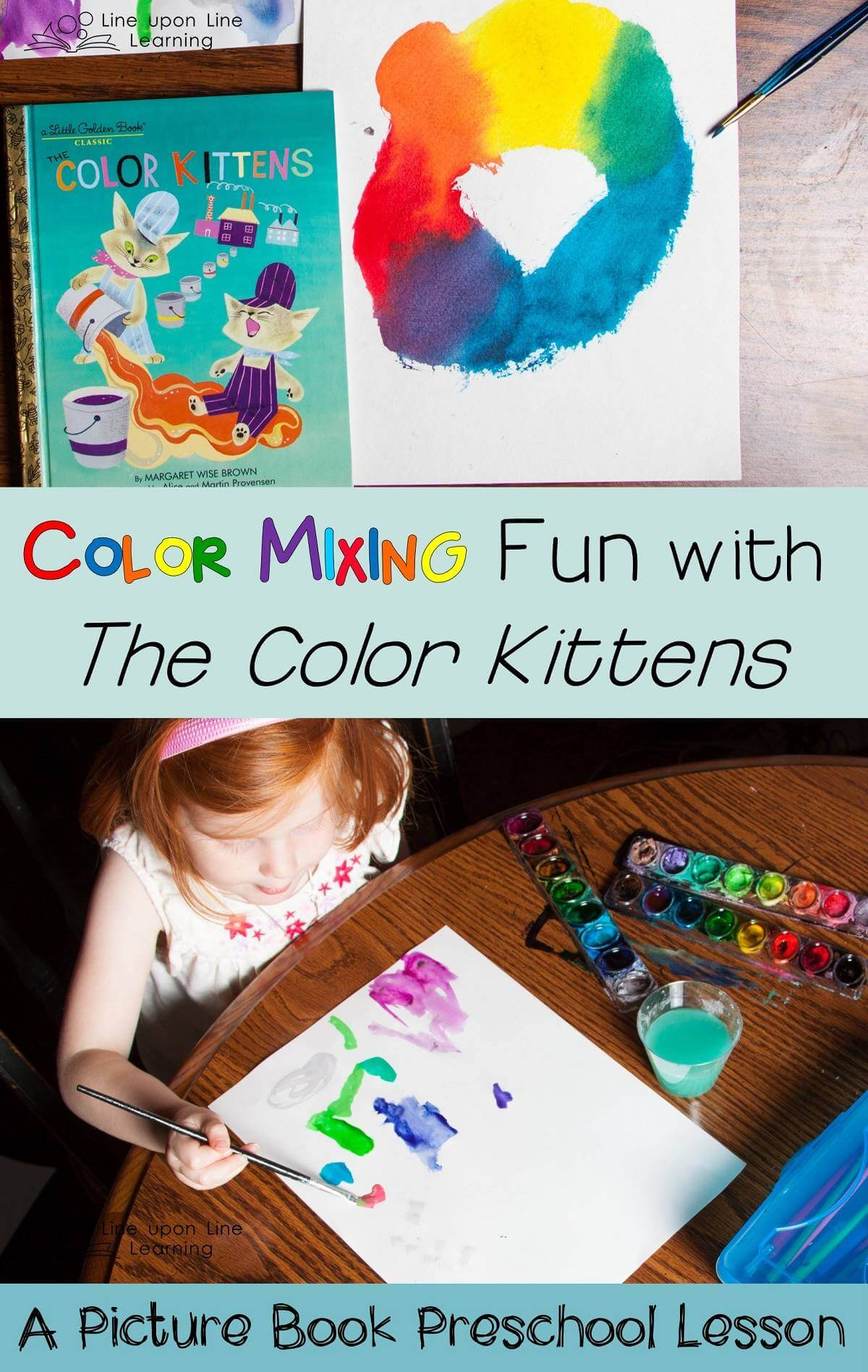 """We practiced mixing our own colors after reading The Color Kittens. Then we painted our own pictures with """"all the colors in the world."""""""