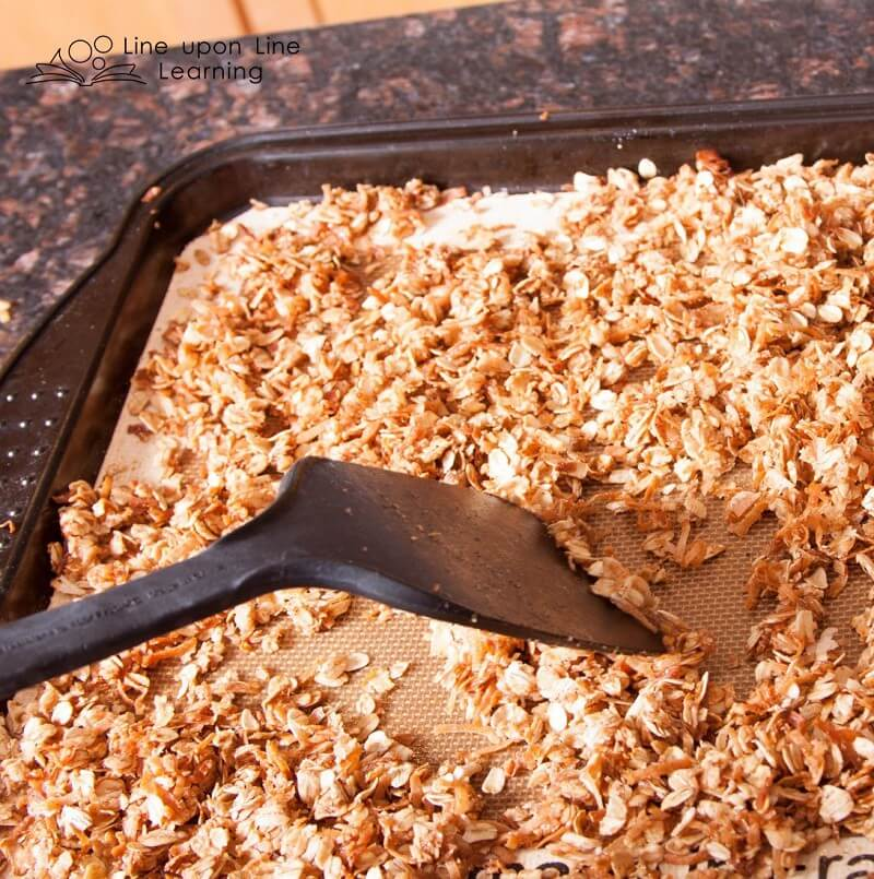 I helped toss the hot granola during the cooking step, but other than that, the kids did the entire recipe themselves!