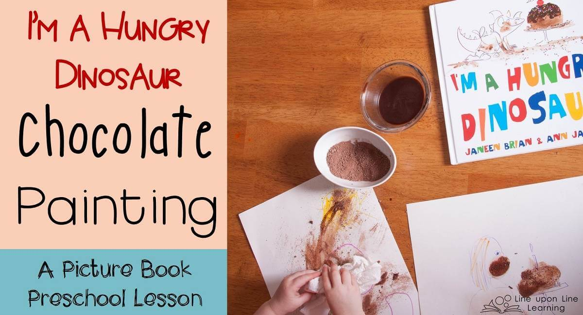 Playing in cocoa powder and chocolate made a nice extension activity to reading I'm a Hungry Dinosaur!
