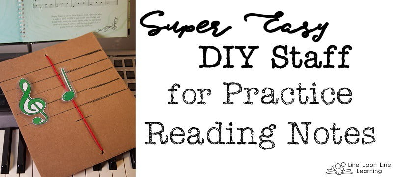 We practice reading notes with this simple homemade staff.