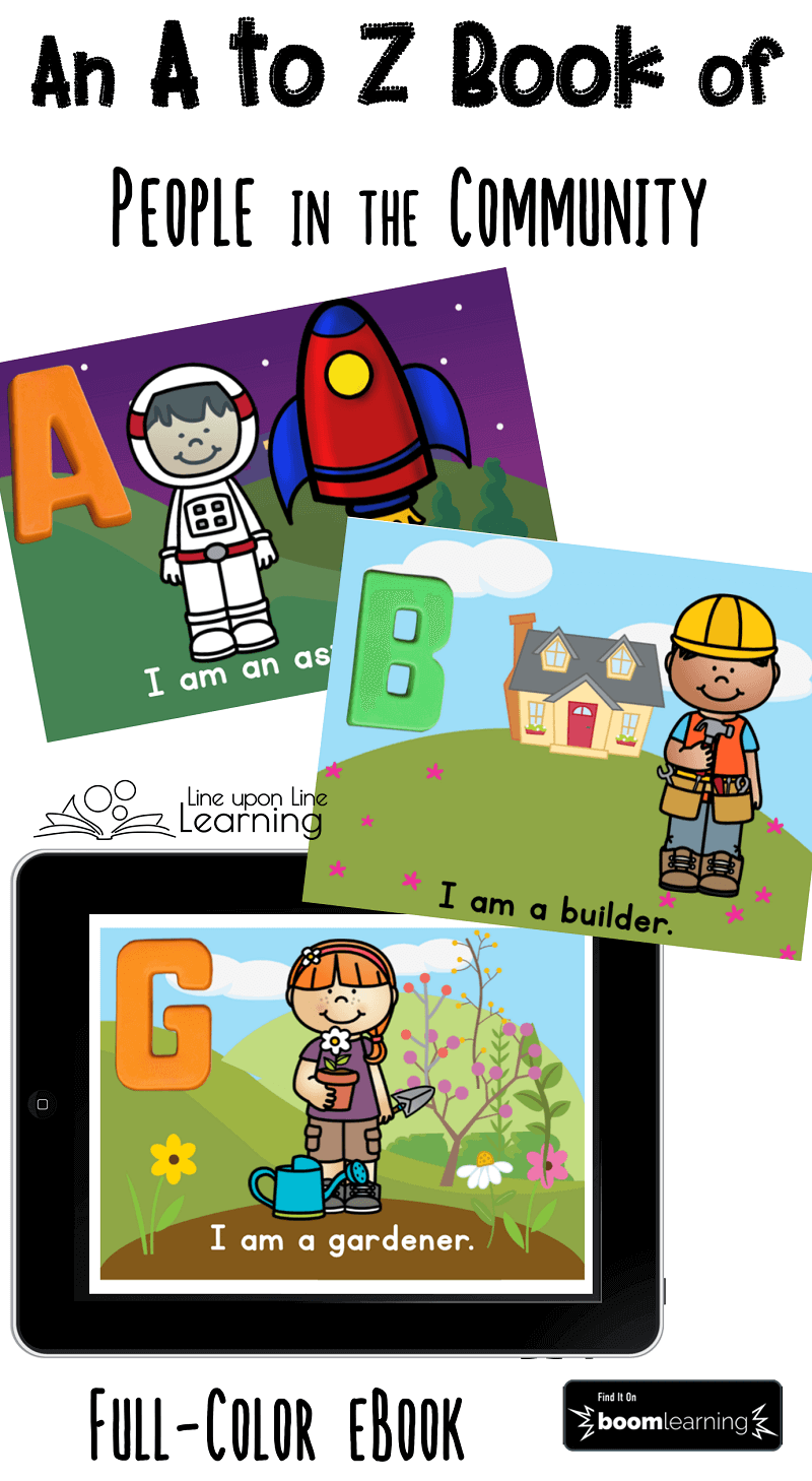 Read the full-color ebook, An A to Z Book of People in the Community, as a Boom Cards deck!