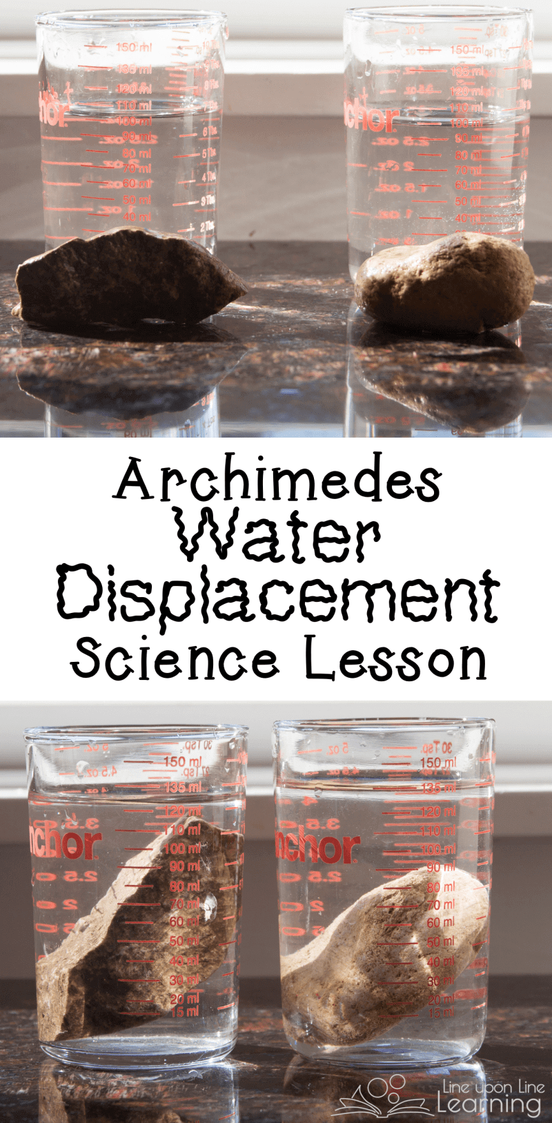 We used small liquid measures from our kitchen to measure the volume of two different rocks using Archimedes' water displacement201703 archimedes water displacement science ideas.