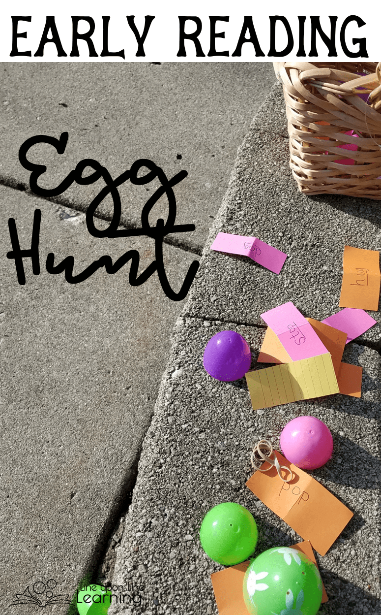 Practice early reading in a double gross motor egg hunt. (Search for eggs, and act out the words found inside!)
