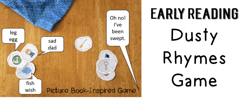 Playing with rhymes and thinking of rhymes is a fun pre-reading and early reading skill. In this rhyming game, we try to think of rhymes for the cards we draw before we draw a broom or vacuum to clean up our pile of dust!