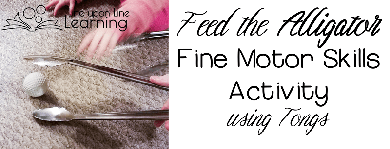 """Use tongs to play an alligator fine motor skills game as you """"eat"""" treats."""