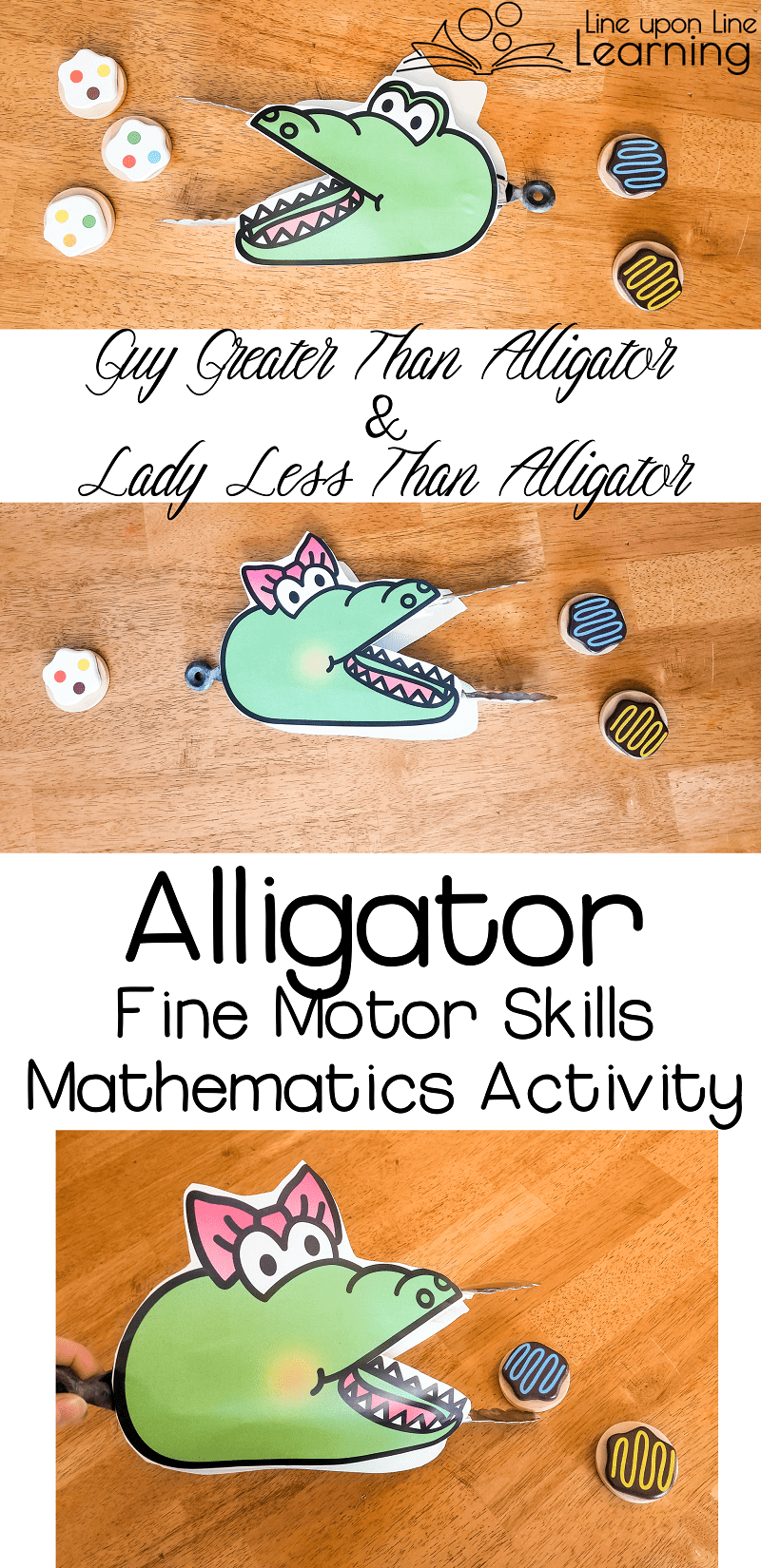 Introduce the concepts of greater than and less than with an alligator fine motor skills mini-math lesson!