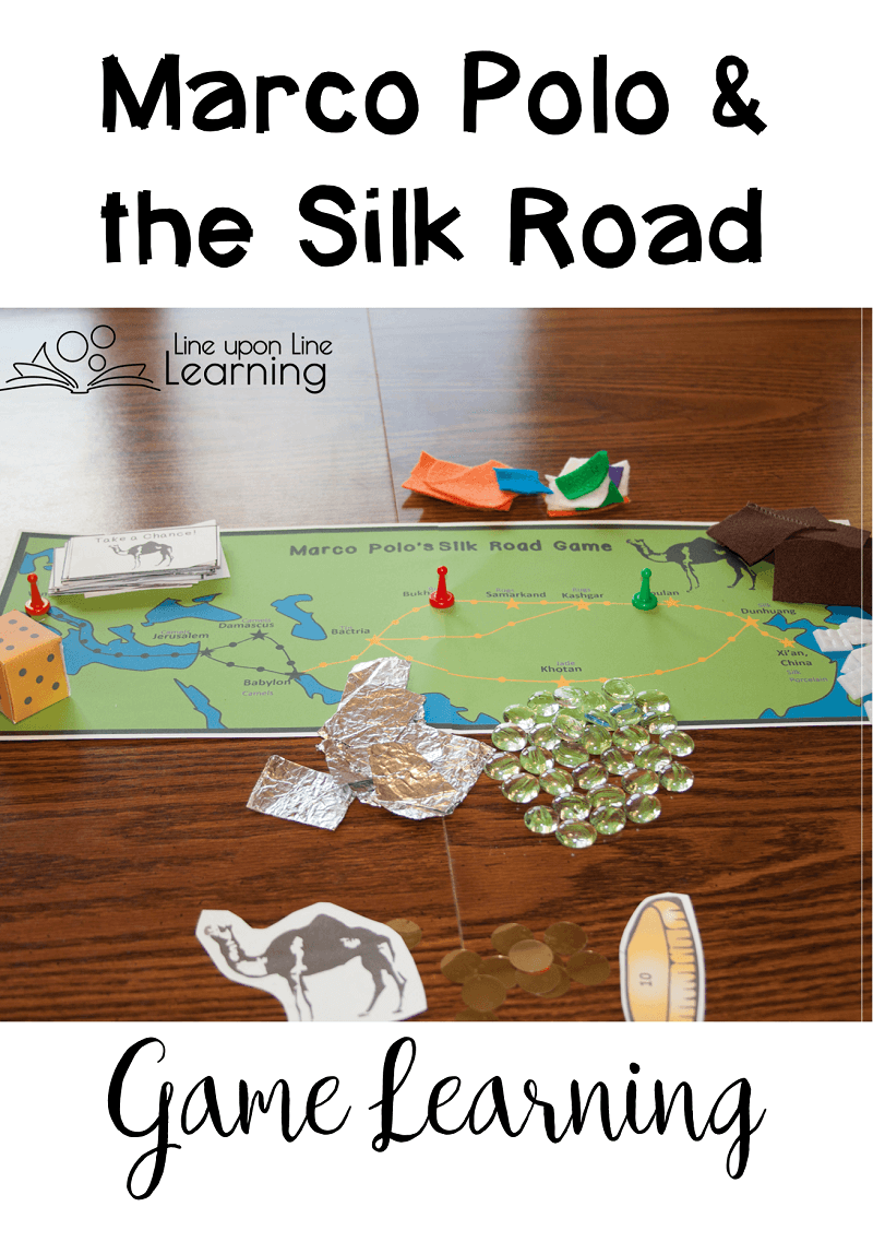 To make our Marco Polo Silk Road game even more hands-on, we used aluminium foil, felt, silky fabric, green stones, and porcelain tiles as our trade goods. Plus, we had to buy food to eat along the way. Could we sell our goods for a good price back in Venice?