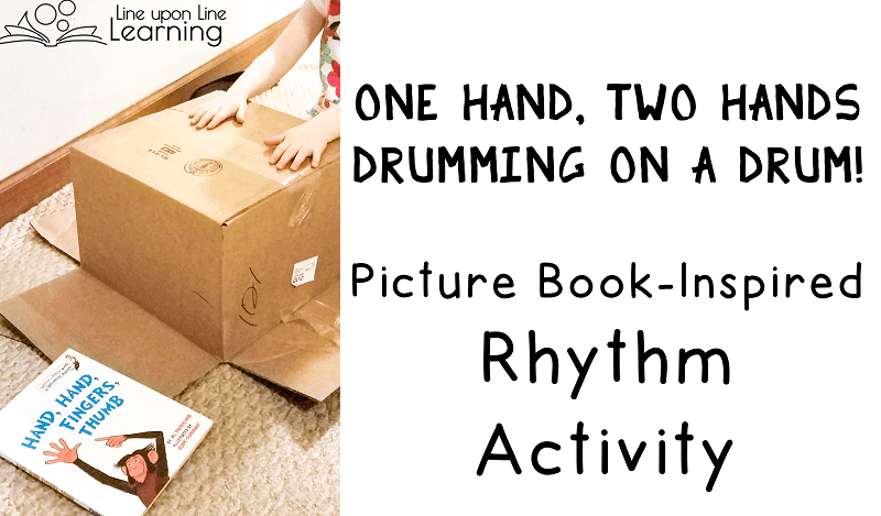 We made our own music after reading a rhythmic picture book. Drumming is a great rhythmic activity.