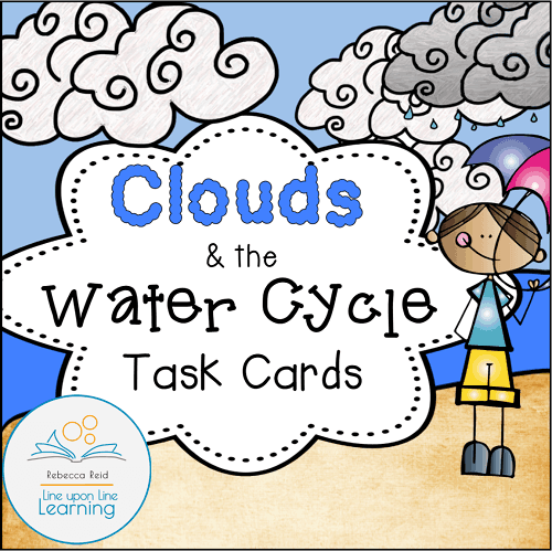 Clouds and the water cycle task cards COVER