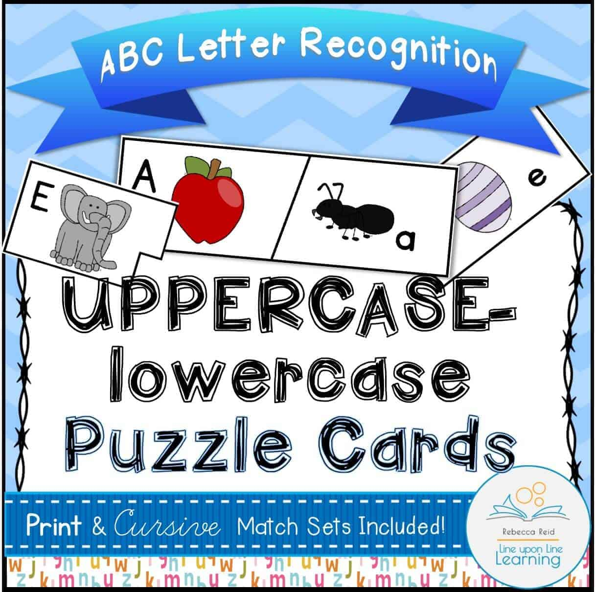 Abc Puzzle Cards Uppercase Lowercase Alphabet Recognition Line Upon Line Learning