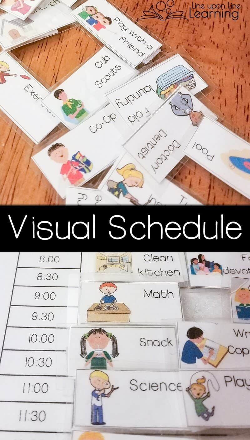 We use a visual schedule to make sure we know where our day is headed and to remember the daily priorities! Download an editable version for your own use.