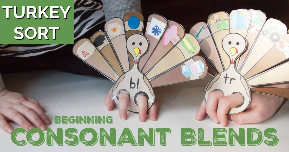 """My kids loved putting their fingers into their beginning blends turkey puppets to have them """"walk around."""" Fun activity to practice beginning consonant blends!"""