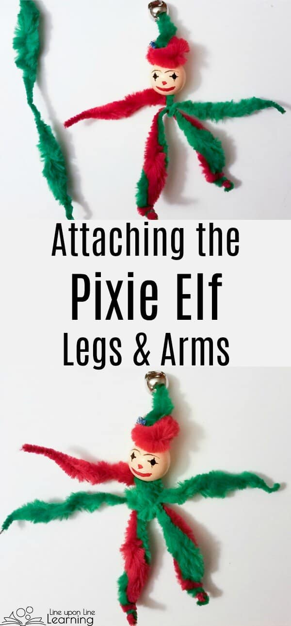 Our pipe cleaner Christmas elf is starting to take shape!