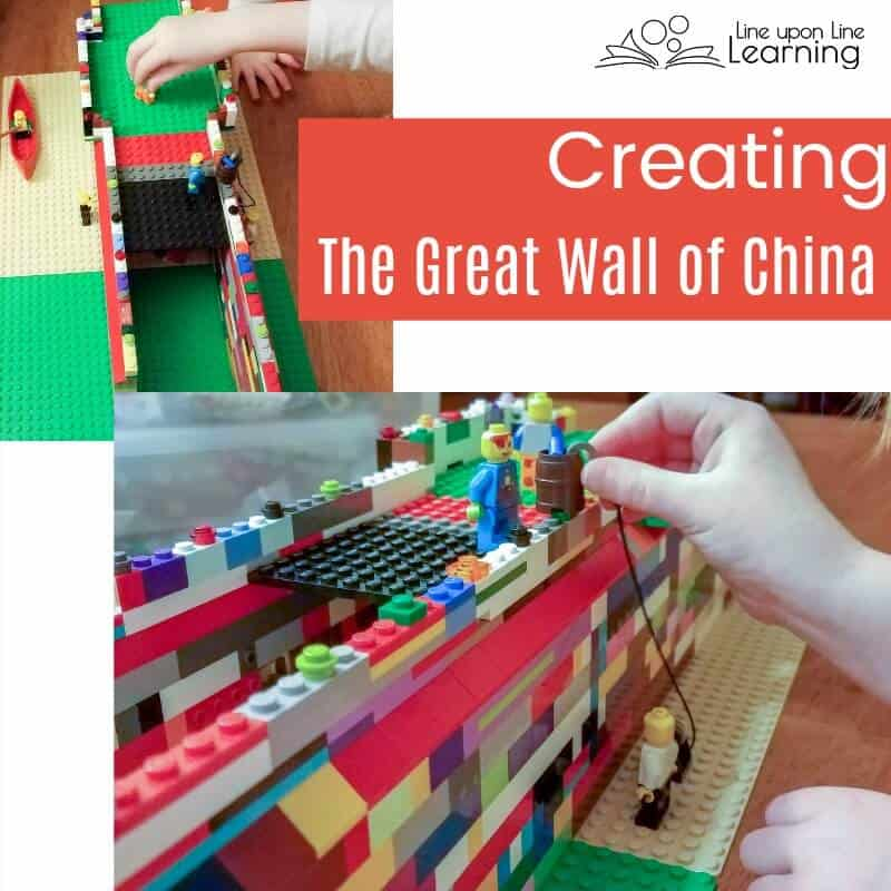 We made the Great Wall of China out of LEGO bricks to learn about China in our journey Around the World with great picture books.