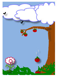 Gravity pulls apples down toward the Earth's surface.