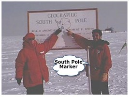 Janice VanCleave and Randy Landsberg at the South Pole Marker.