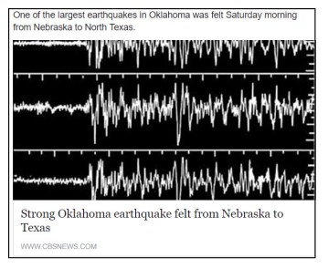 Seismogram of 9-3-2016 earthquake in Oklahoma