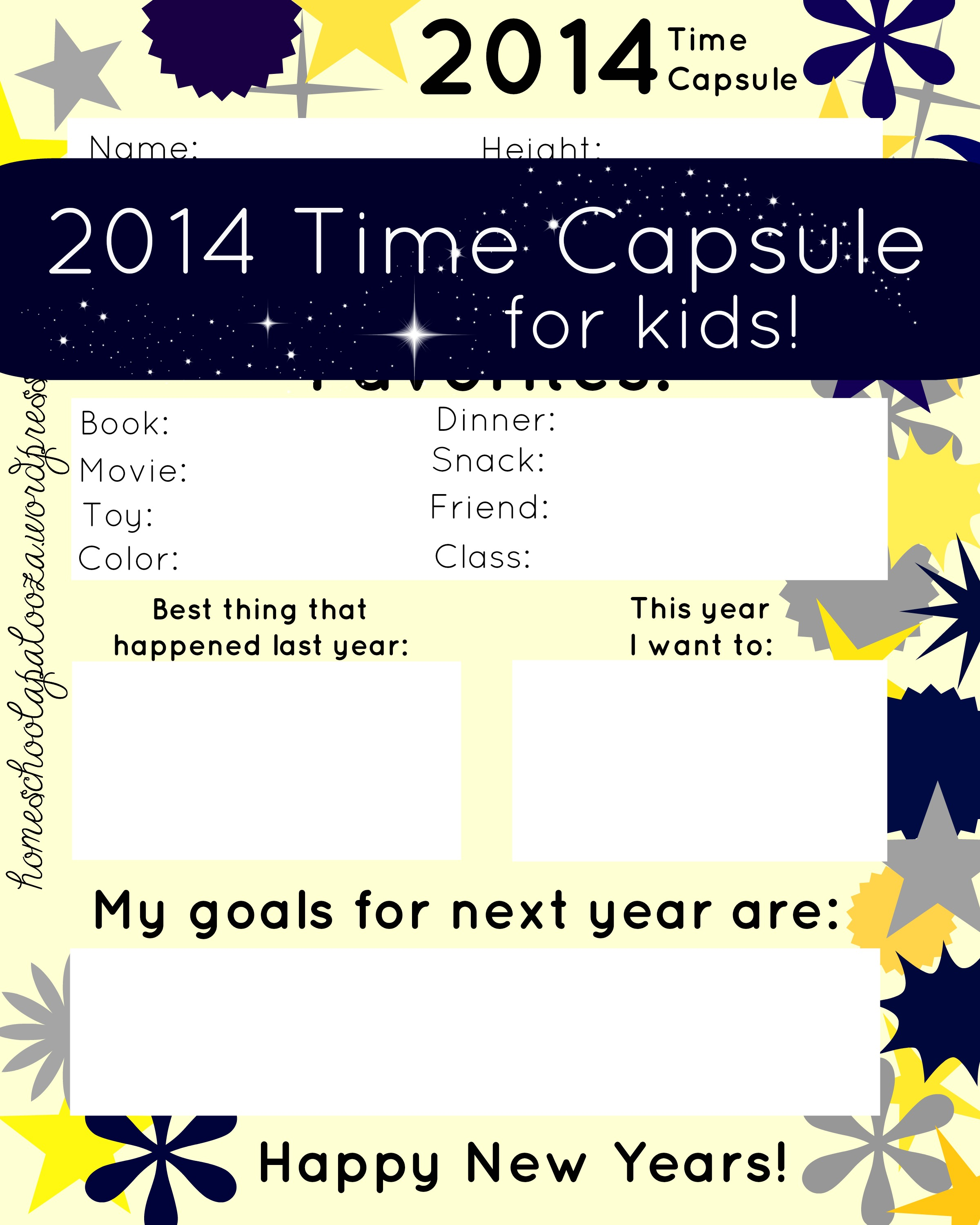 New Years Time Capsule Printable