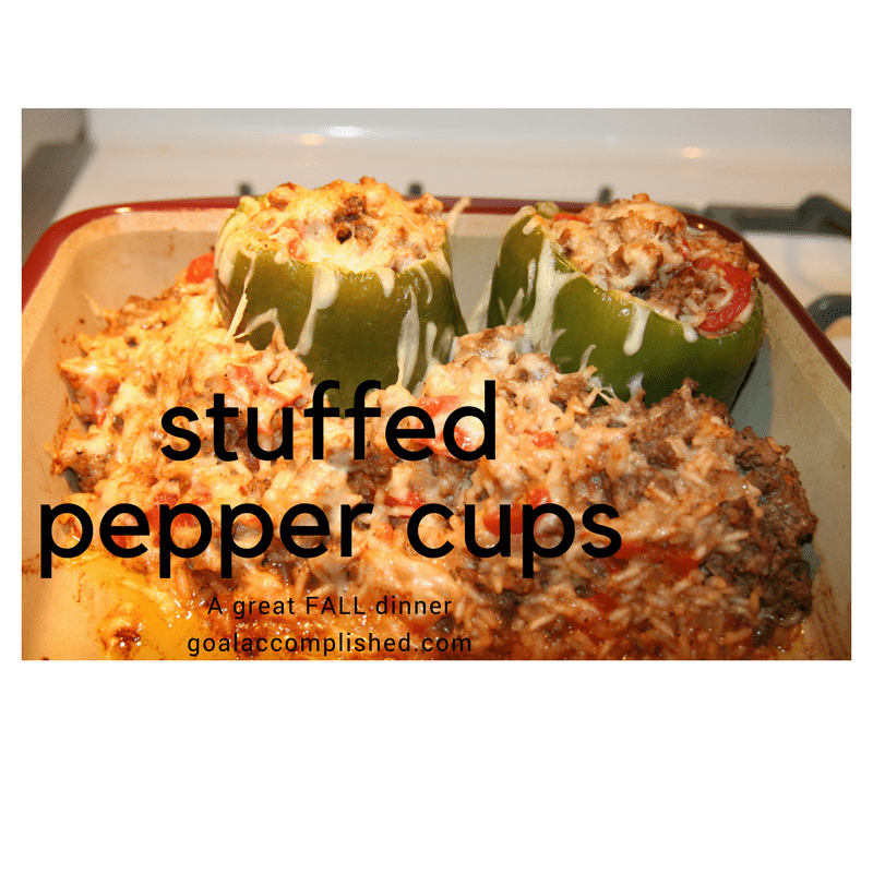 2 pepper cups and stuffing in casserole dish