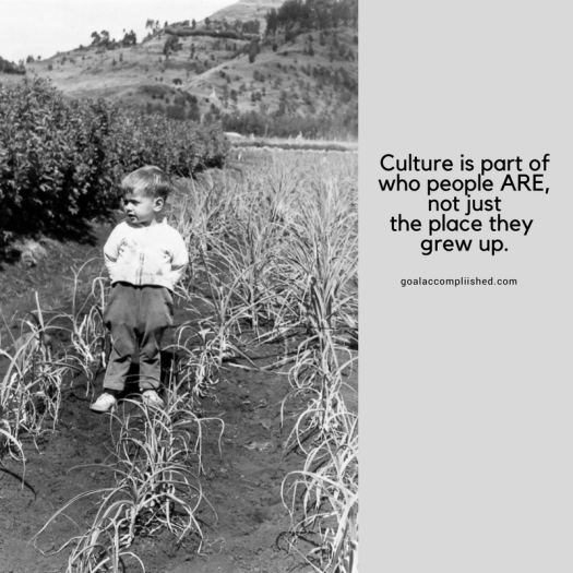 Marrying across cultures: Here is a picture of 2 yo American boy standing in field in Ethiopia. The text says, Culture is part of who people are, not just the place they grew up.