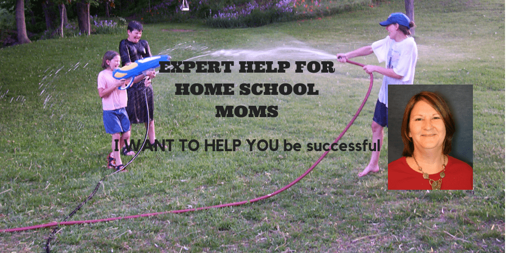 Expert Help for Home School Moms: I want to help you be successful like I've helped others. Picture of kids squirting water at each other outside in backyard.