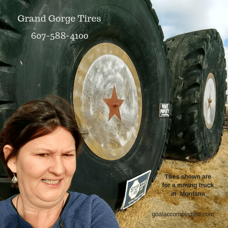 Grand Gorge Tires: This picture is of Elizabeth in front of two enormous used tires from a mining truck in Montana. The tires are 10 feet tall! Grand Gorge Tires phone # 607-588-4100.