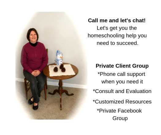 Homeschool Christian Mom: Call me and let's chat. Elizabeth sitting in kitchen, by table with snowman and pinecone decorations. Text says: Call me and let's chat. Let's get you the homeschooling help you need to succeed. Private client group: phone call support when you need it, consult and evaluation, customized resources, private FB group