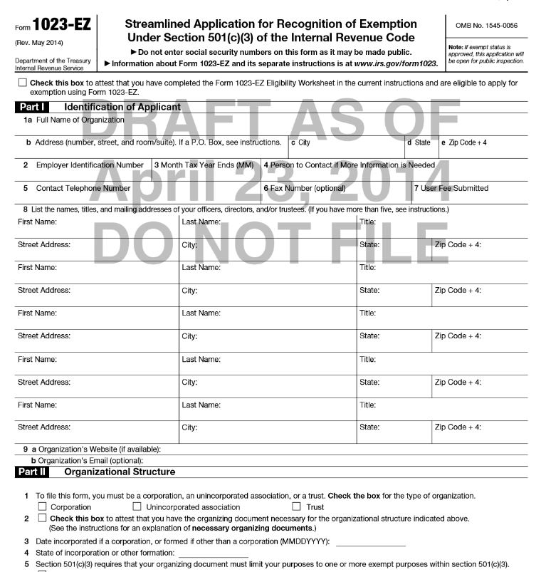 Irs Proposes Form 1023 Ez Homeschoolcpa