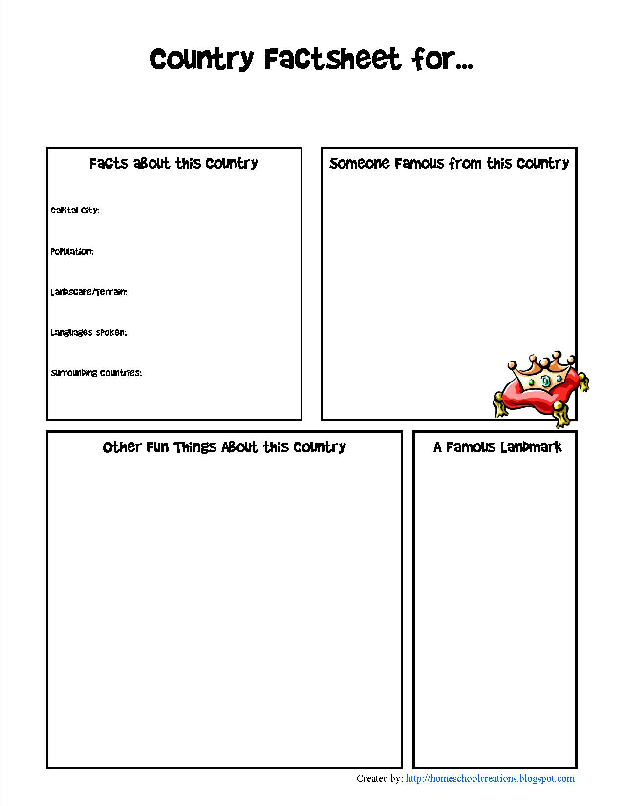 City Information Worksheet