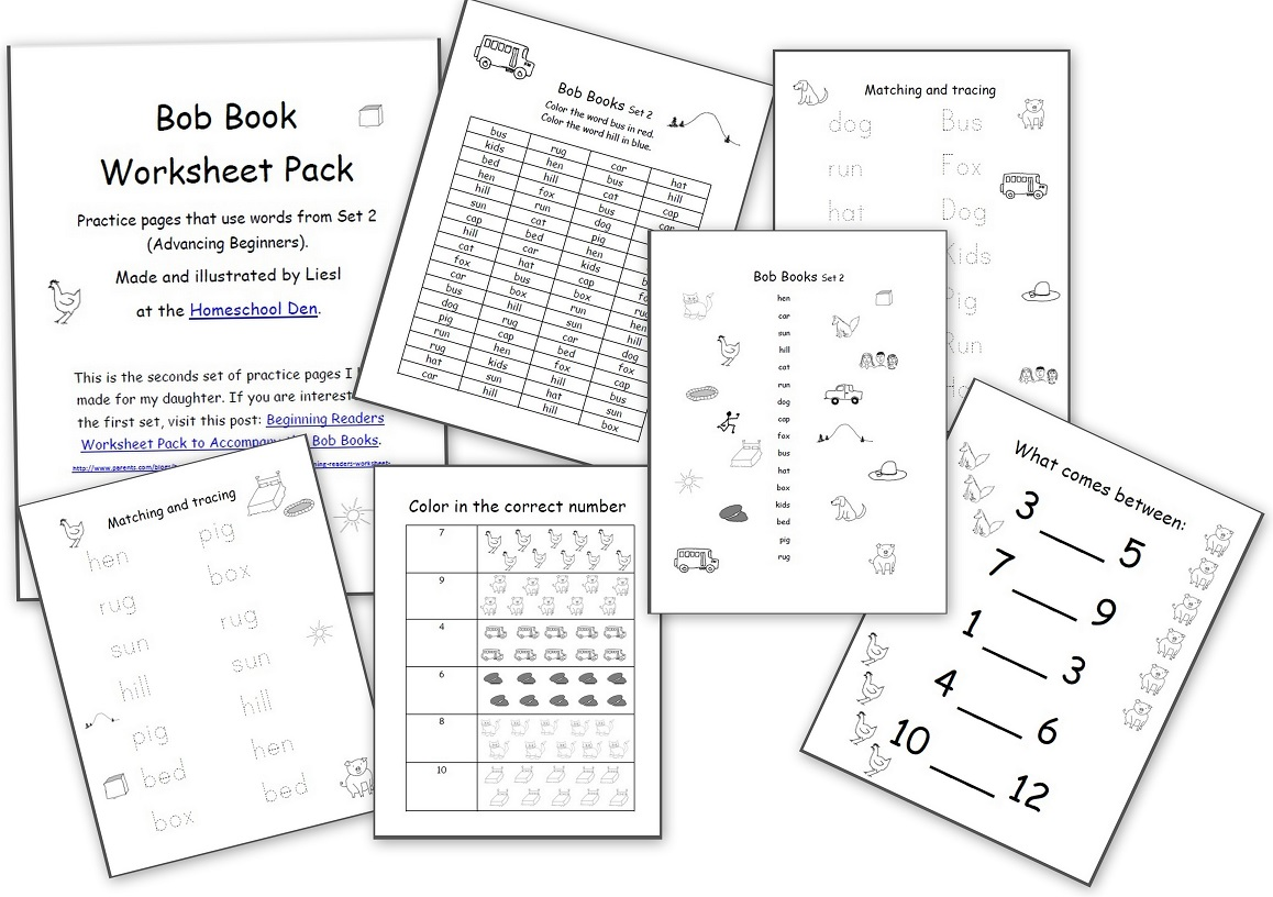 Worksheets To Accompany The Bob Books Set 2