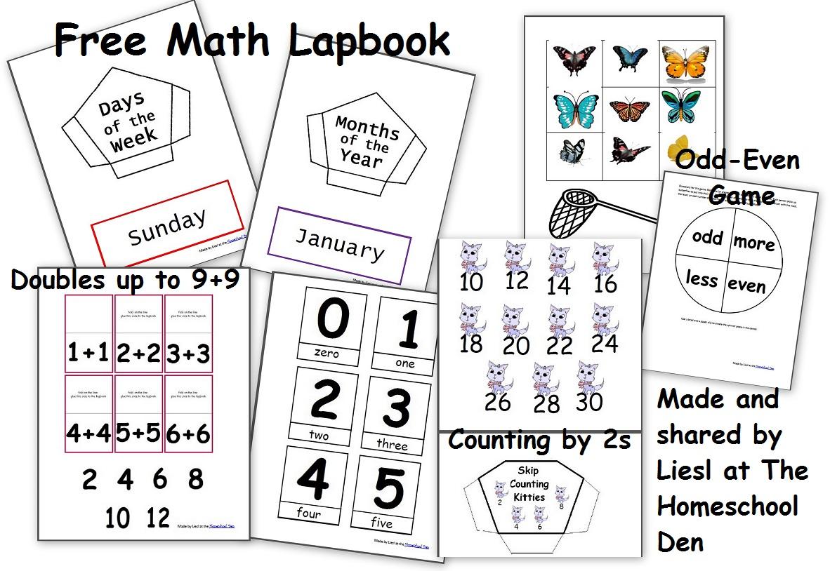 Free Math Lapbook Prek K 1st Grade