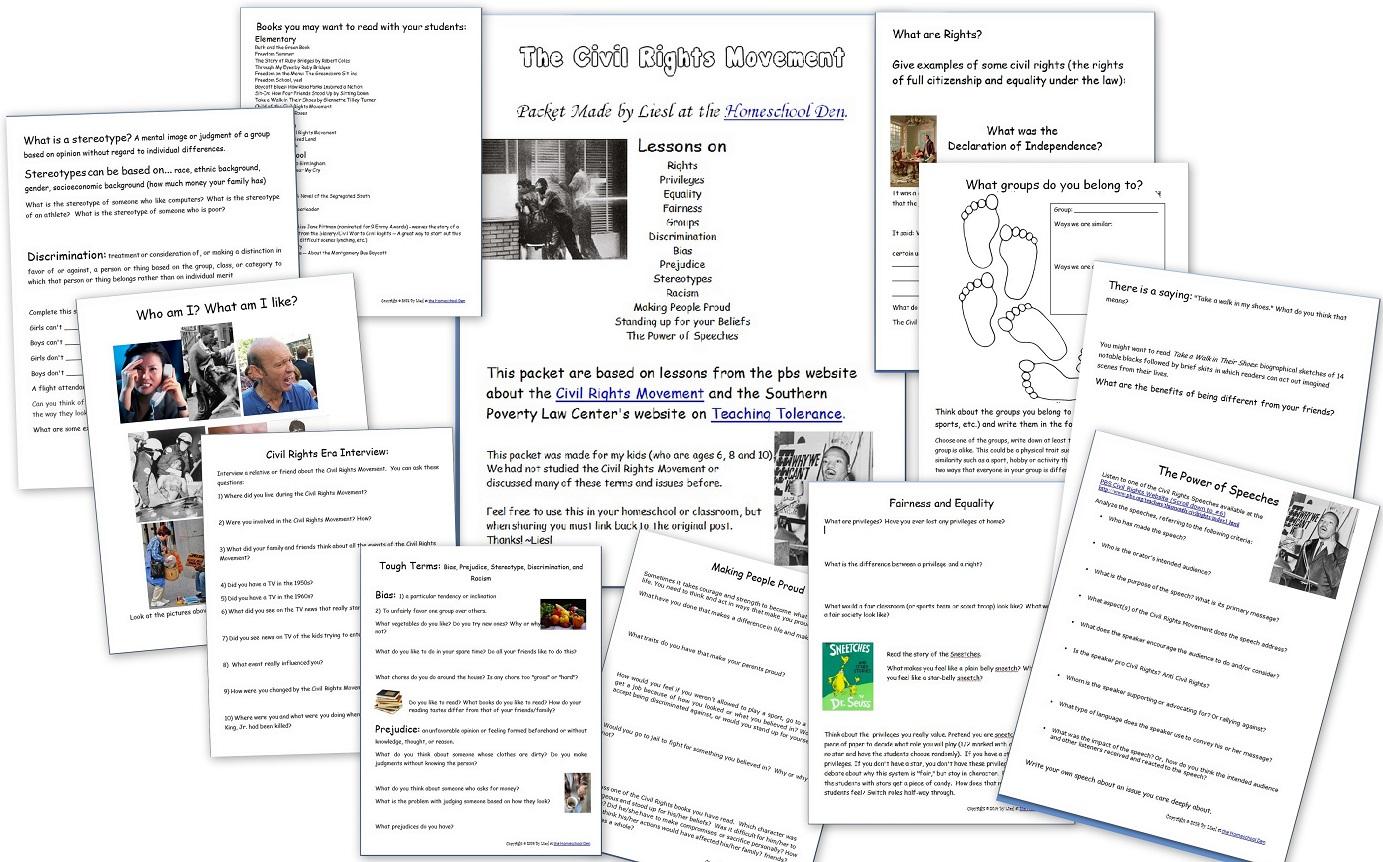 Civil Rights Worksheets For Kids