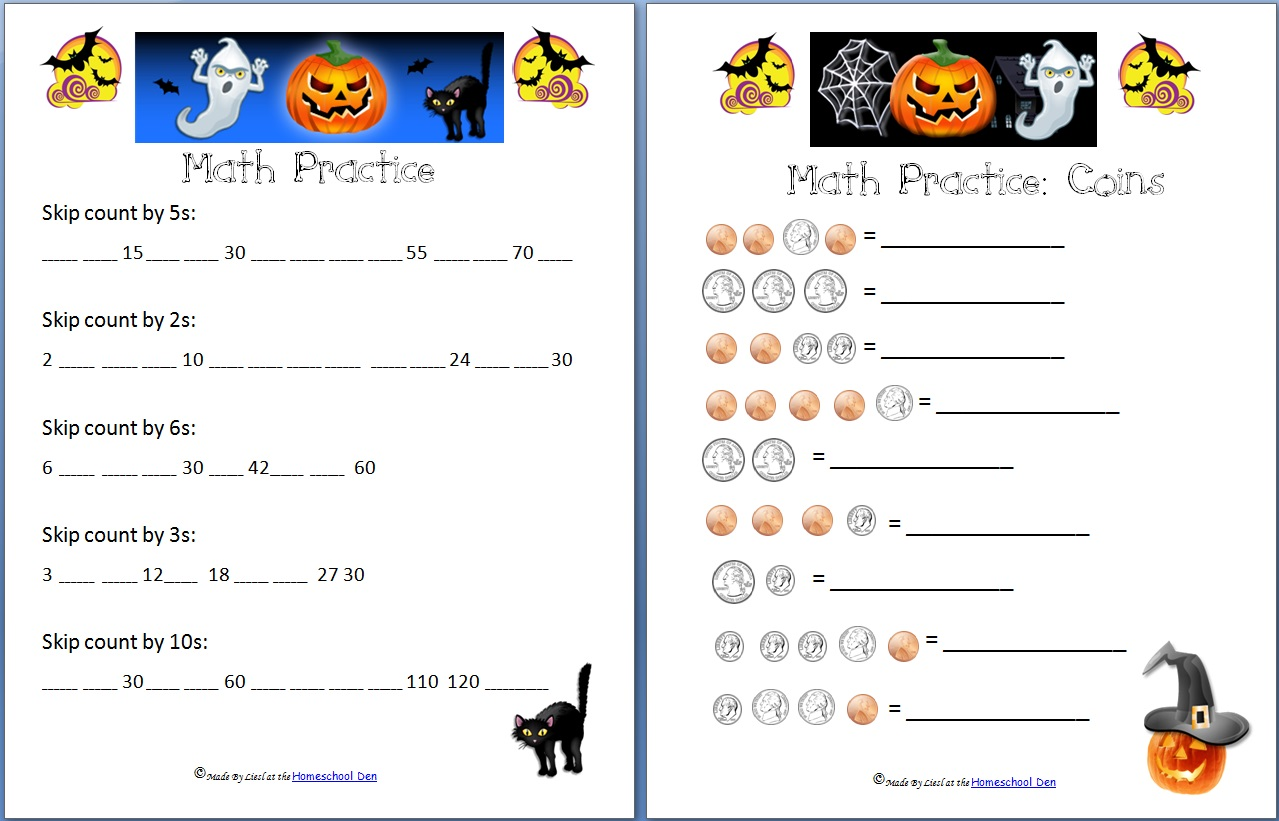 Free Halloween Math Worksheets Addition Subtraction Coins And Skip Counting