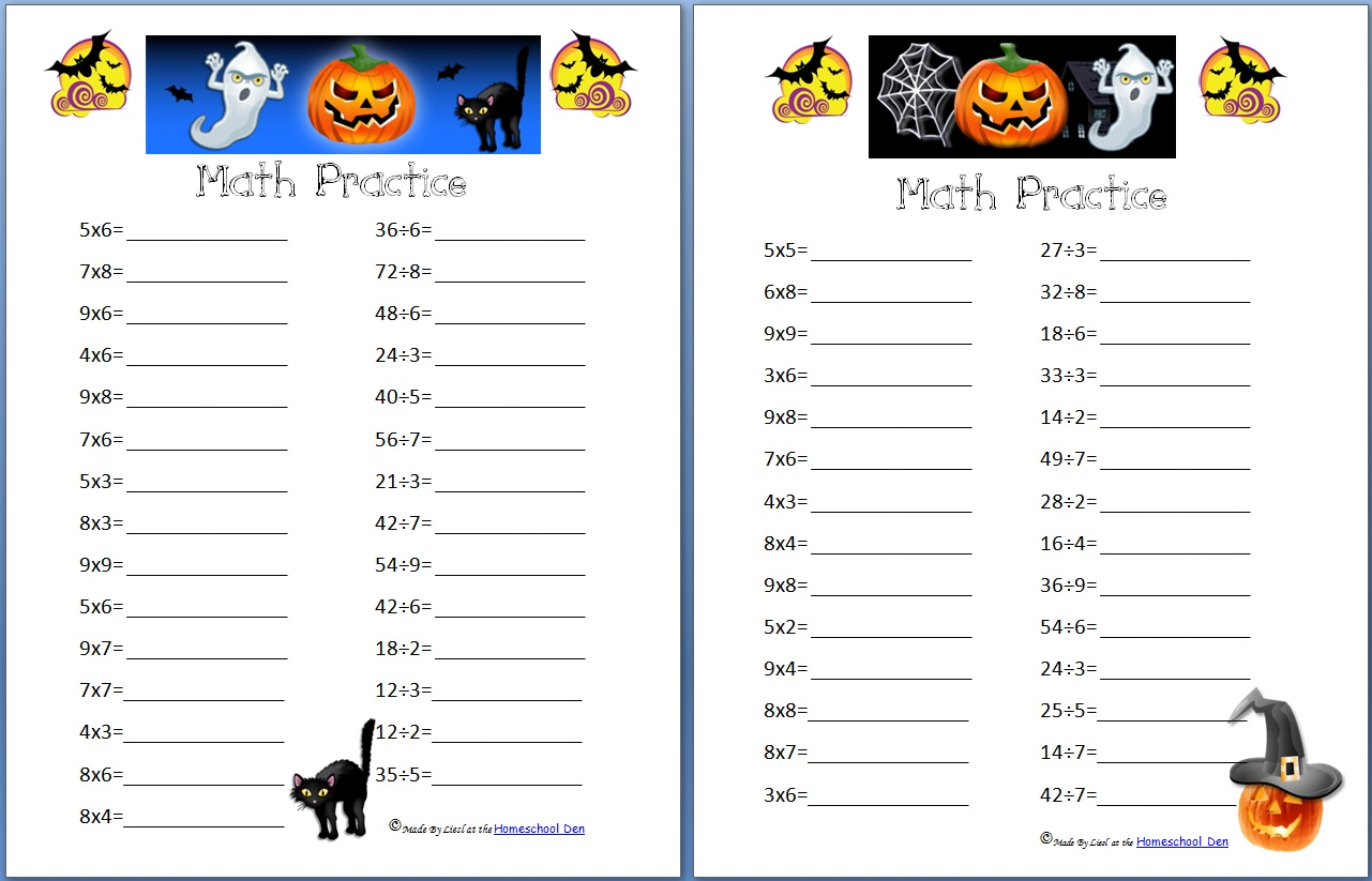 Free Halloween Math Practice Pages Multiplication Division And Fractions