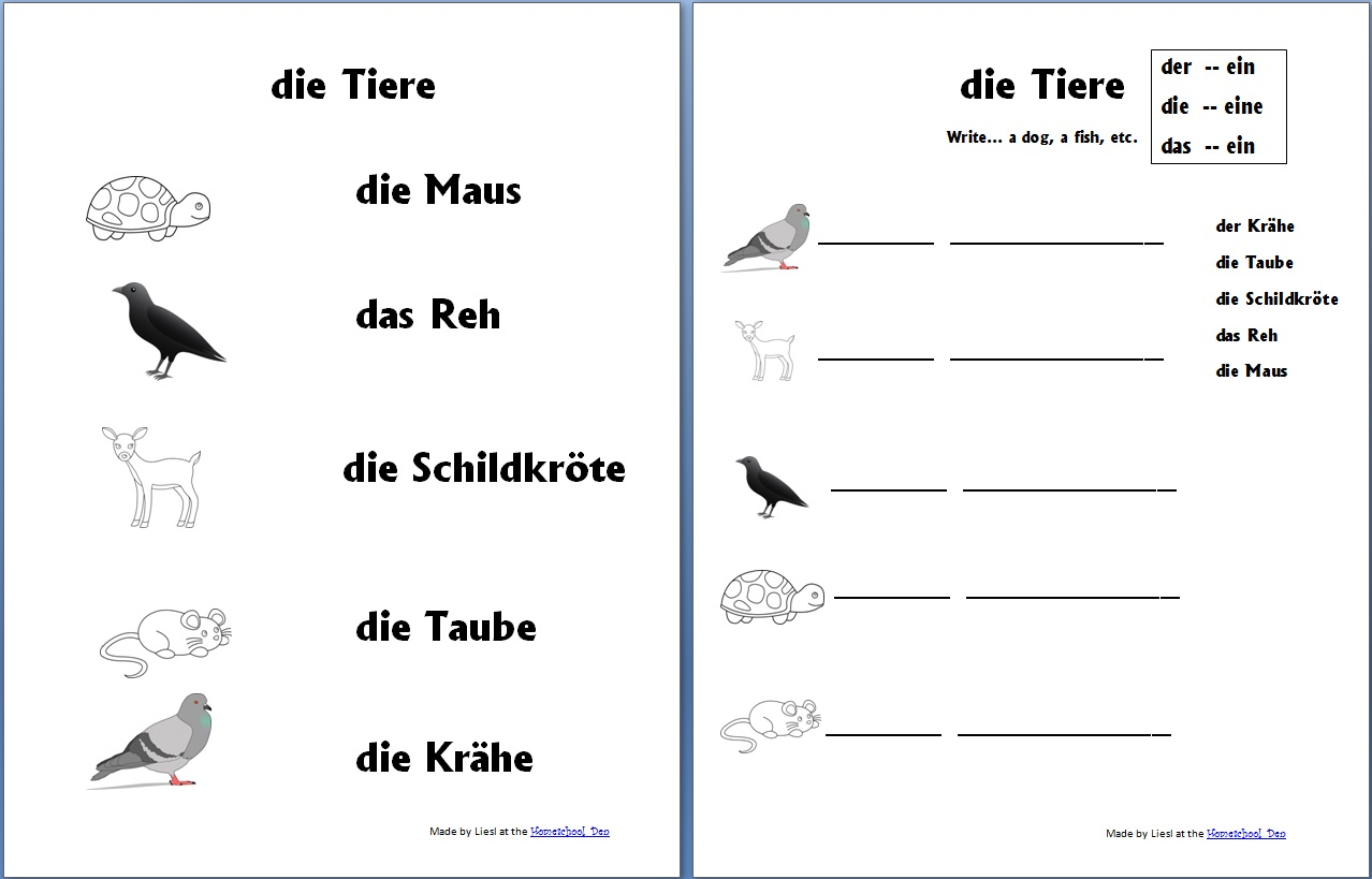 Free German Worksheet Packet On Animals