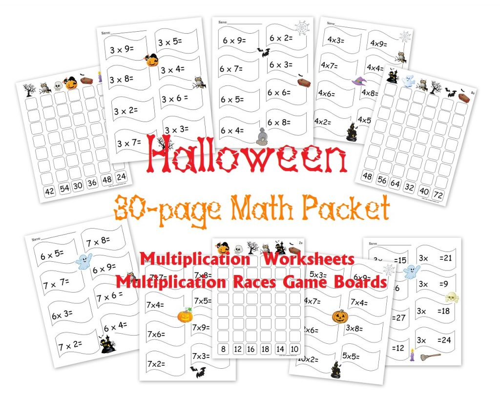 Free 30 Page Halloween Multiplication Packet Math