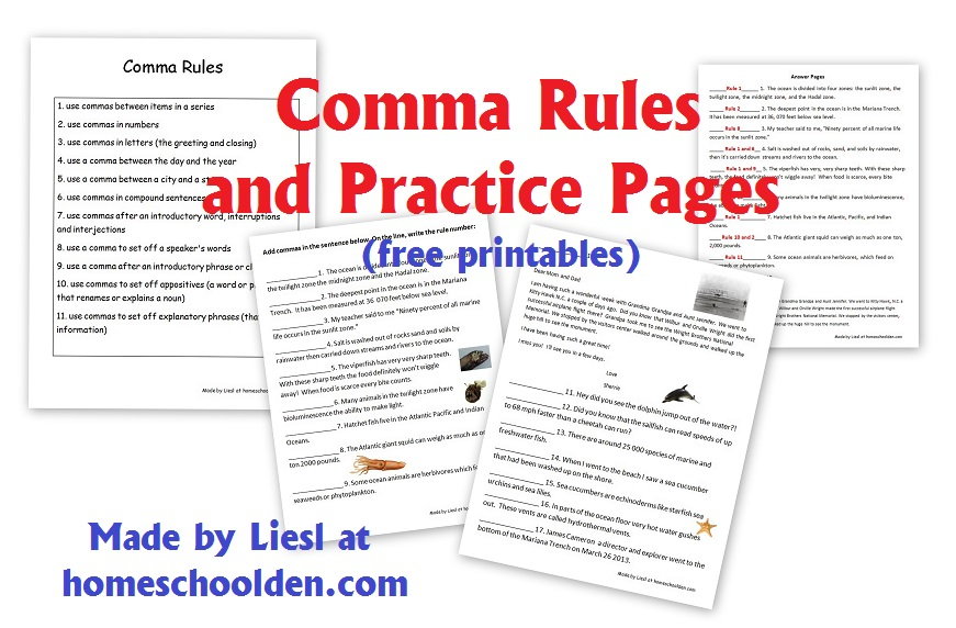 Comma Rules And Practice Pages Free Grammar Worksheets