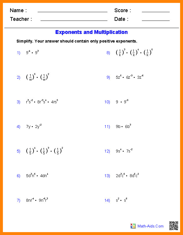 Multiplying Exponents Worksheet
