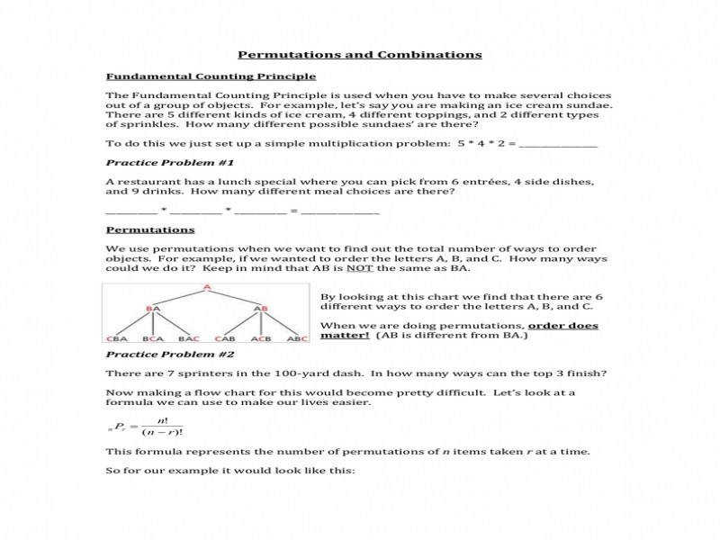 Permutations And Combinations Worksheet