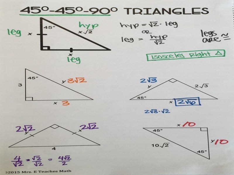 Special Right Triangles 30 60 90 Formula
