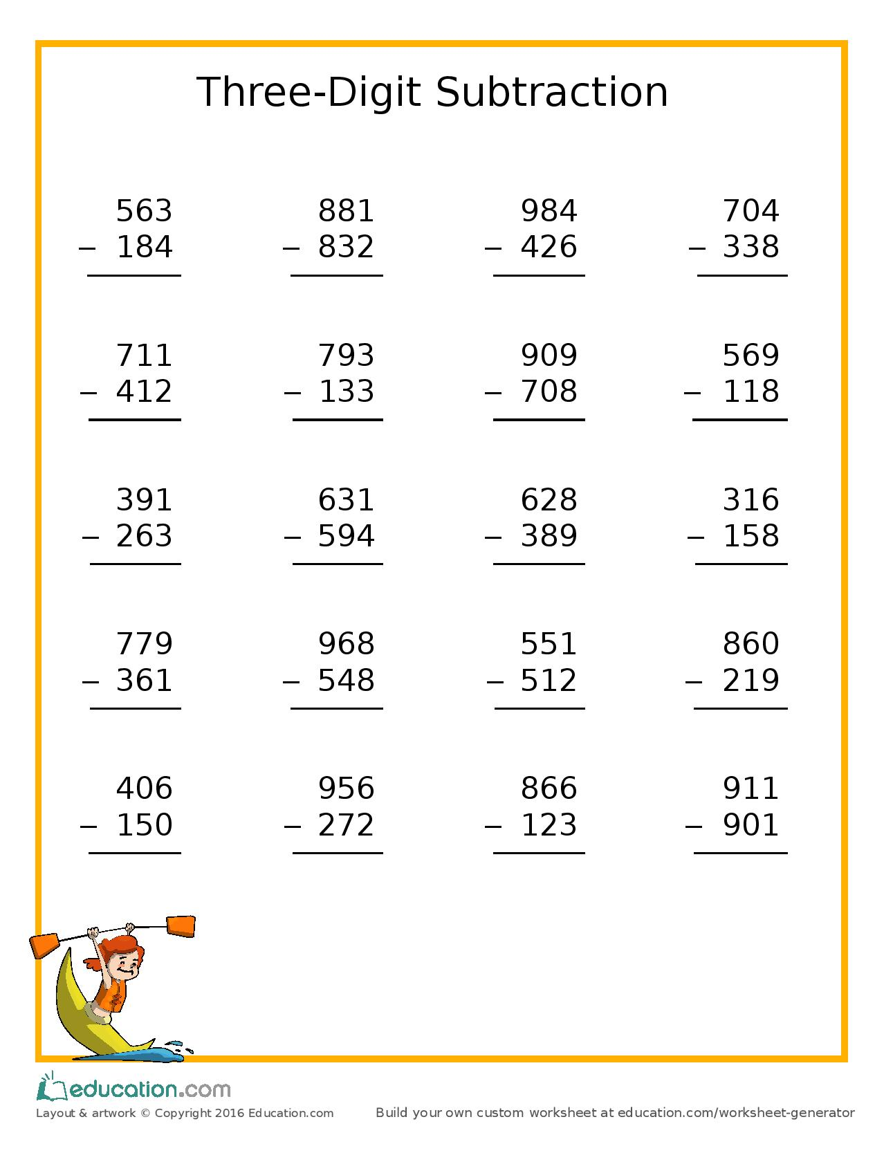 Free Worksheet From Education Three Digit Subtraction