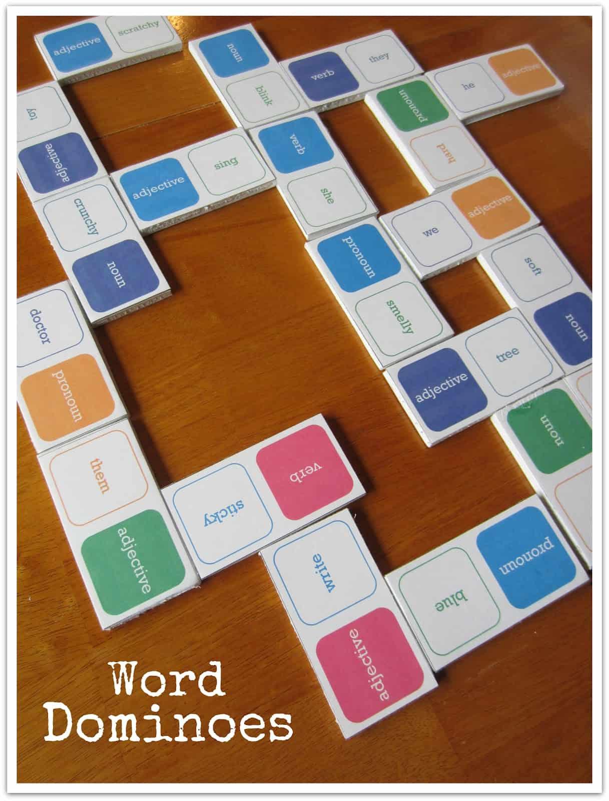 Free Printable Word Dominoes Game Practicing Parts Of