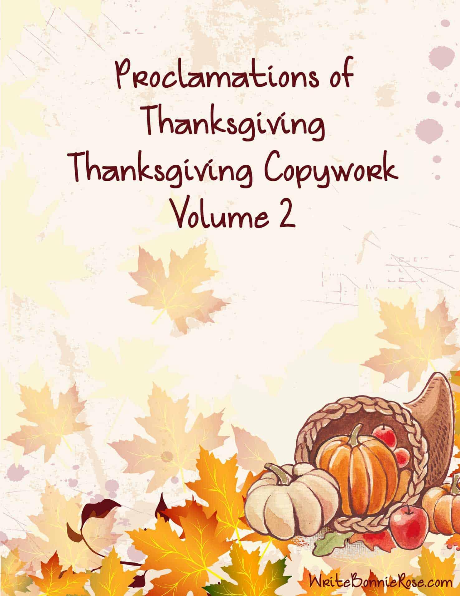 Free Thanksgiving Copywork Volume 2
