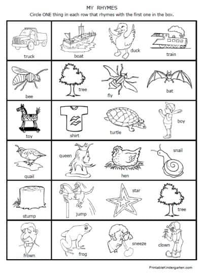Free Rhymes Worksheet Printables