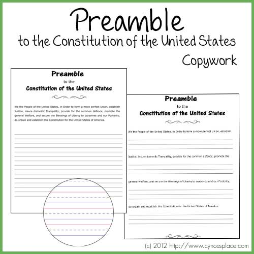 Free Printable Preamble To The Constitution Copywork Page
