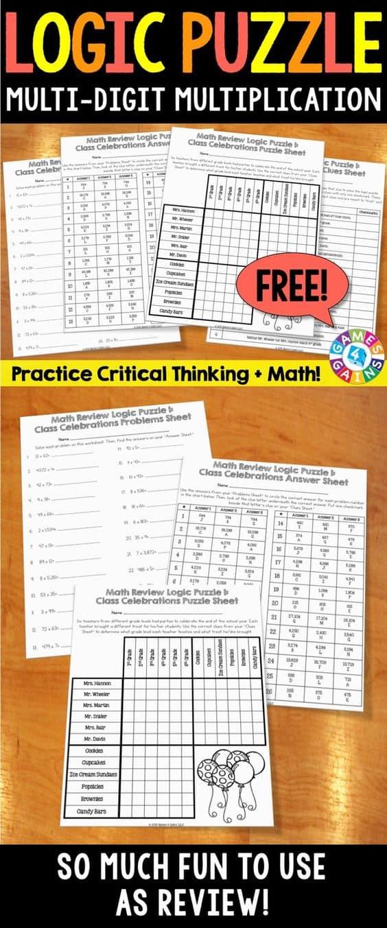 Free Printable Multi Digit Multiplication Logic Puzzle