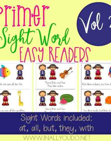These Primer Sight Word Readers are perfect for budding readers to improve their reading skills! Includes 5 different sight words from the Dolch Primer list! :: www.homeschoolgiveaways.com